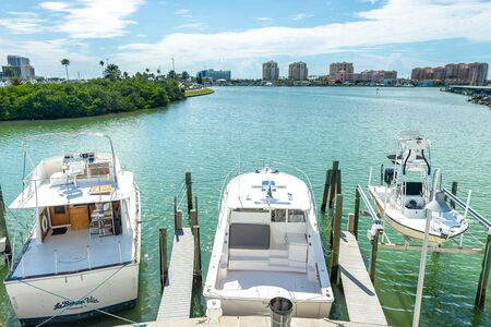 Clearwater, USA - jun 15, 2018: Boats anchored at the marina in Clearwater Florida