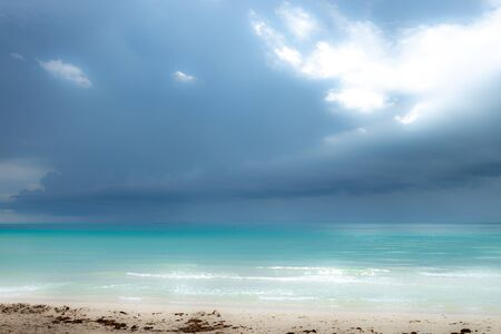 Miami south beach with storm approaching the sand