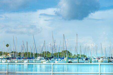 Saint Petersburg, USA - jun 16, 2018: Nice Marina with many sailboats anchored