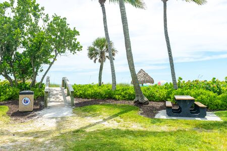 Naples, USA - jun 13, 2018: Beach rest area in Naples city by the mexican gulf