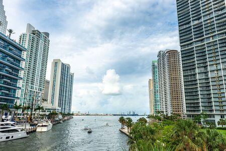 Miami, USA - jun 10, 2018: View of Miami downtown with many buildings Redakční