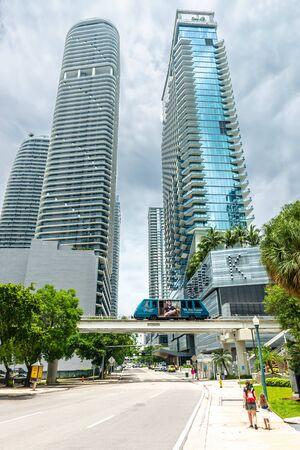 Miami, USA - jun 10, 2018: The Brickell loop train in Miami downtown