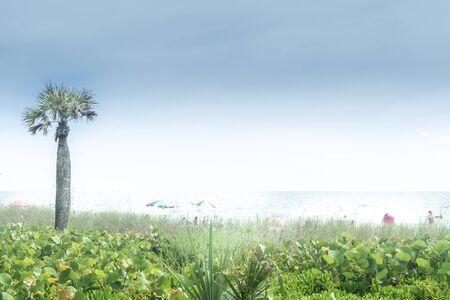 Naples, USA - jun 13, 2018: Haze at Naples beach in Florida by the mexican gulf