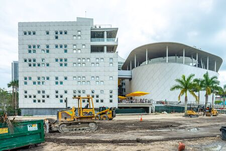 Miami, USA - jun 10, 2018: Back side of  Patricia and Philips science Museum building