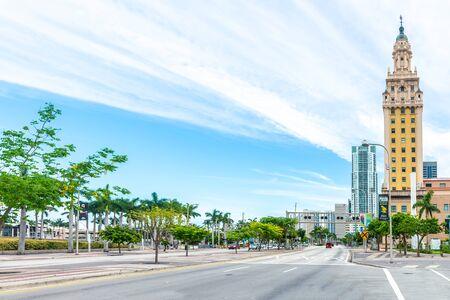 Miami, USA - jun 10, 2018: View of the Miami Downtown Freedom Tower