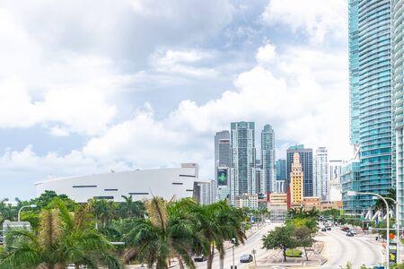 Miami, USA - jun 10, 2018: American Airlines arena building in Miami downtown