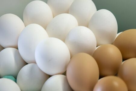 Stack of many white and brown and fresh chicken eggs