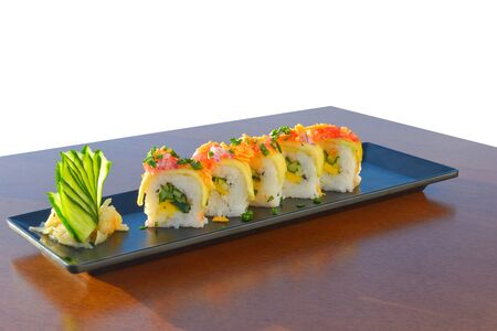 Vegetarian sushi roll with mango, cucumber, parsley. Japanese food Stockfoto