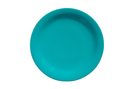 Empty ceramic round cyan plate isolated on white background Stock Photo