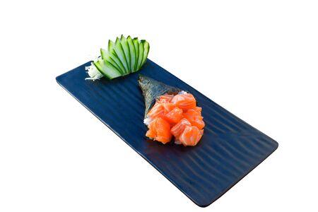 Temaki roll. Salmon sashimi flavour. Japanese food