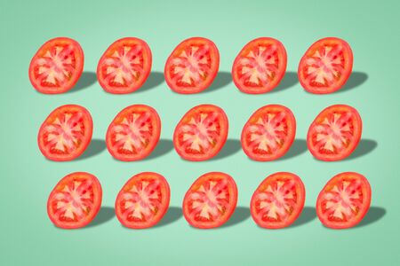 Sliced tomato set, a nutritious and healthy dietary food Imagens