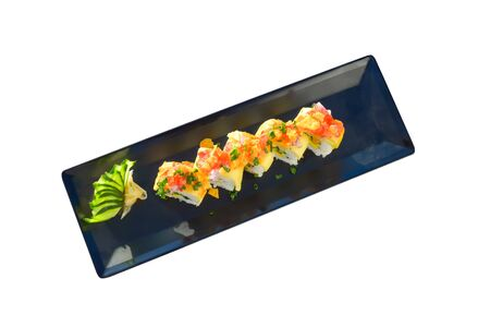 Vegetarian sushi roll with mango, cucumber, parsley. isolated on white background