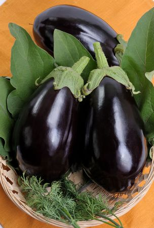 roundish: Eggplants of black colour in a basket Stock Photo