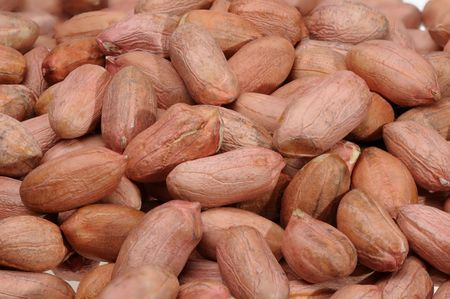 goober: Peanuts close up on white background, isolated. Stock Photo