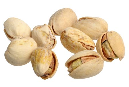 Pistachios on a white background, close-up, isolated photo