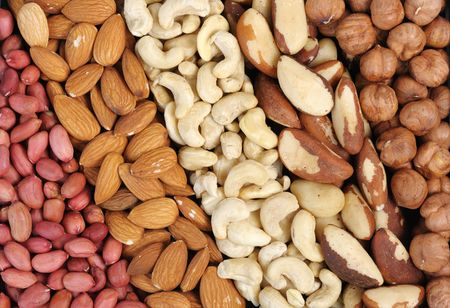 Set of nuts - peanuts, cashews, almonds, Brazil nuts, walnuts. photo