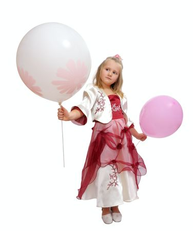 Girl in a smart dress holding a balloons. photo
