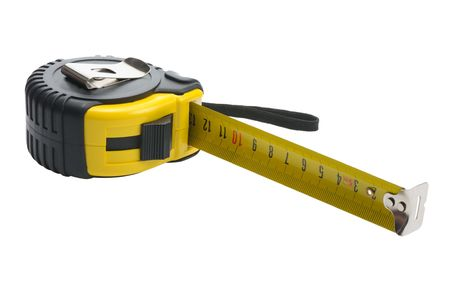 yardstick: Black and yellow yardstick on a white background, isolated