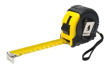 cinta metrica: Vara de medir de amarillo y negro sobre un fondo blanco, aislado
