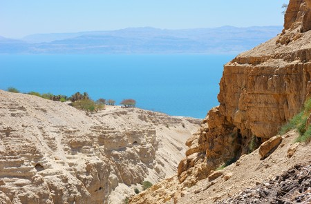 judean: View of the Dead Sea from the slopes of the Judean Mountains in the area of the reserve of Ein Gedi
