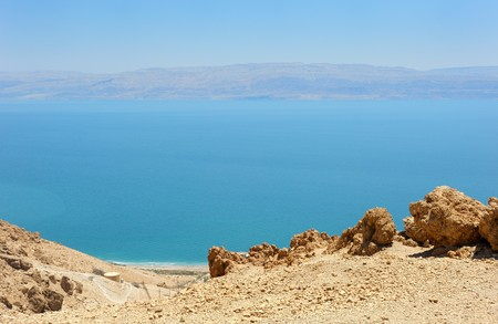 View of the Dead Sea from the slopes of the Judean Mountains in the area of the reserve of Ein Gedi