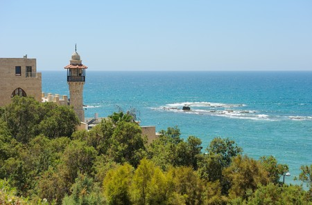 The sea, the houses and trees of Old Jaffa photo