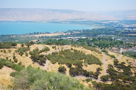 South shore of Lake Kinneret, the beginning of the Jordan River and the Jordan Valley. Stock Photo
