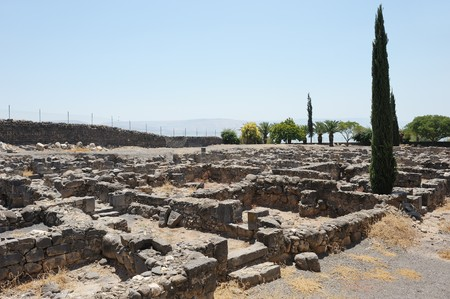 Excavations of the ancient city of Capernaum on the shores of Lake Kinneret, where he lived and preached Christ.