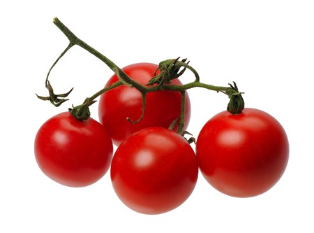 tomatto: Branch of red tomatto, isolated on a white background Stock Photo