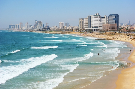 Sea coast and the view of the Tel Aviv from Old Jaffa at the evening Stock Photo