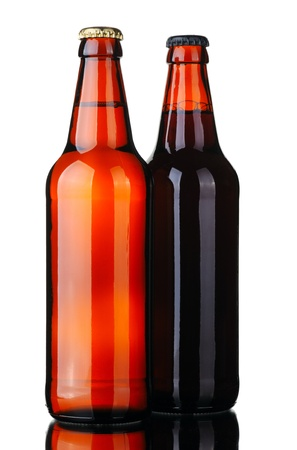 Bottle of lager and dark beer from brown glass, isolated on a white background. Stock Photo - 8763322