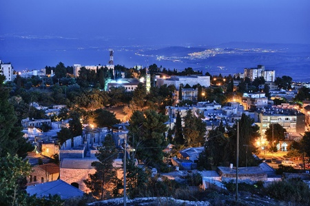jewish houses: The town of Safed in northern Israel in the late evening. Stock Photo