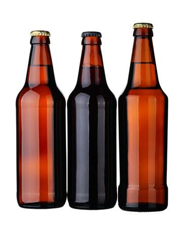 schwarzbier: Flaschen Lager und dunkles Bier aus braunem Glas, isolated on white Background.