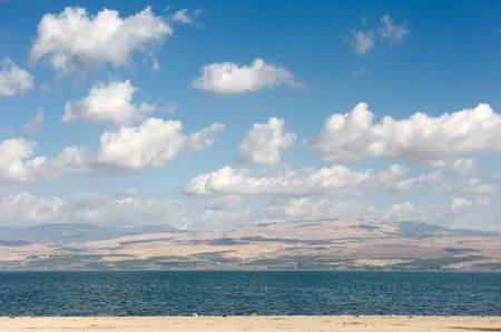 Sea of Galilee in the early morning, ripples on the water and clouds in the sky photo