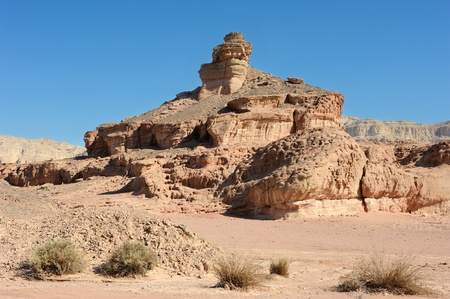 timna: landscapes and geological formations in the Timna Park in southern Israel Stock Photo