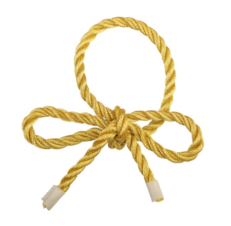 rope knot: Gold lace, isolated on a white background.
