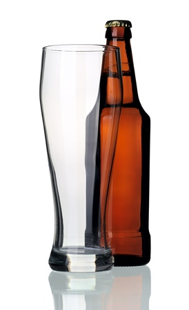 Bottle of beer and glass, isolated on a white background. Stock Photo - 9696647