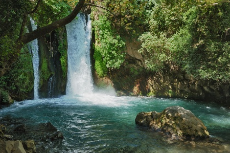 and israel: Waterfall in the Banias Nature Reserve in northern Israel