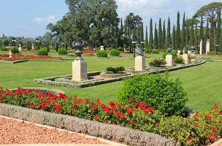 acre: Bahai Gardens near the city of Acre, Israel Stock Photo
