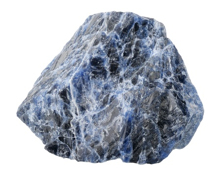 sodalite: A splinter of sodalite, isolated on a white background Stock Photo