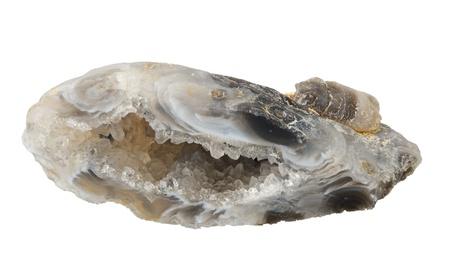 chalcedony: Vug di calcedonio, isolato su uno sfondo bianco