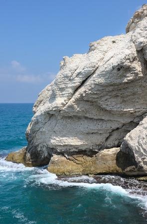 hanikra: The white chalk cliffs of Rosh ha-Hanikra on Israels northern border
