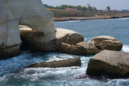 The white chalk cliffs of Rosh ha-Hanikra on Israels northern border photo