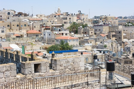 Walls of Jerusalem, view on the roofs of the old city. photo