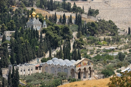 Mount of Olives, Church of All Nations and Church of Mary Magdalene, view from the walls of Jerusalem. photo
