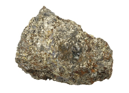 splinter: A splinter of chalcopyrite, isolated on a white background