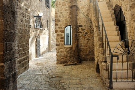 Street in the old part of Jerusalem, Israel  photo