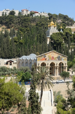 mount of olives: Mount of Olives, Church of All Nations and Church of Mary Magdalene, view from the walls of Jerusalem