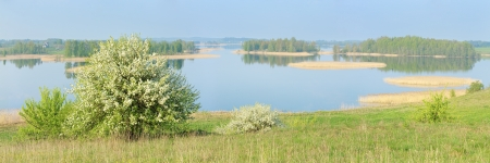 braslav: Panoramic picture  3 1  of the lake at sunrise  Stock Photo