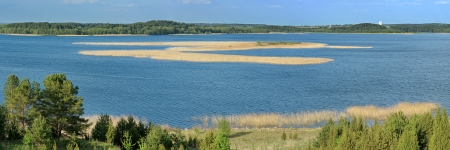 braslav: Panoramic picture  3 1  of the lake at day  Stock Photo